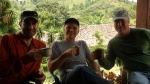 Jay from Java Jackets, Chris from Fresh Cup, and Andy from Portland Roasting enjoying some fresh Honduran coffee